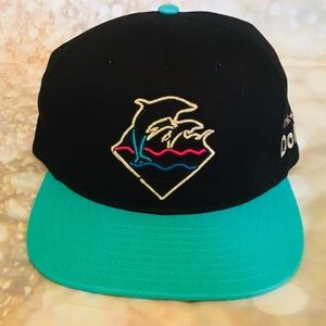 Pink Dolphin Neon Sign Wave Logo Embroidered Cap